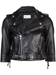Red Valentino Cropped Moto Jacket Lamb Skin Cotton Viscose Black