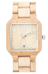 Wewood 'Metis' Square Wood Bracelet Watch 38Mm Beige
