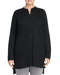 Eileen Fisher Plus Mandarin Collar Knit Tunic Black