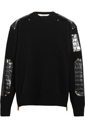 Givenchy Sweater In Croc Effect Leather Trimmed Wool Black