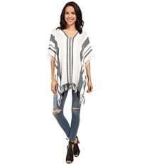 Bcbgeneration Exotic Cultures High Low Poncho White Women's Blouse