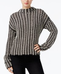 Rachel Roy Patterned Mock Neck Sweater Black Canvas