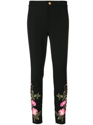 Gucci Floral Embroidery Skinny Trousers Women Cotton Polyamide Polyester Viscose 42 Black