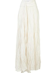 Rosie Assoulin Crinkle Effect Maxi Skirt White