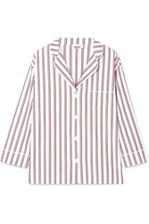 Sleepy Jones Marina Striped Cotton Polin Pajama Shirt Red