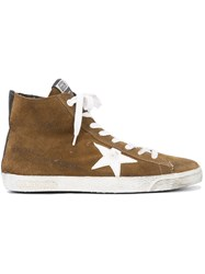 Golden Goose Deluxe Brand Francy High Top Sneakers Women Leather Suede Rubber 38 Brown