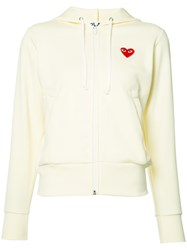 Comme Des Garcons Play Heart Logo Hoodie Women Polyester Xs White