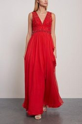 Zuhair Murad Woman Kanshou Embellished Silk Chiffon And Tulle Gown Red