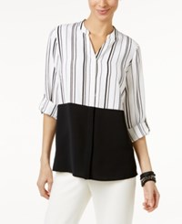 Alfani Tab Sleeve Colorblocked Blouse Only At Macy's Thin Stripes White Black