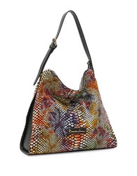 Braccialini Martina Leather Hobo Black Multi