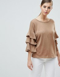 Ax Paris Jumper With Frill Sleeve Detail Cream