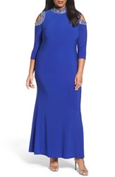 Marina Plus Size Women's Embellished Neck Cold Shoulder Gown Cobalt Silver