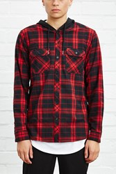 Forever 21 Hooded Flannel Shirt Black Red