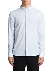 Allsaints Kelso Pinstripe Slim Fit Long Sleeve Shirt Light Blue White