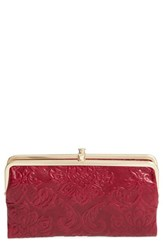 Hobo Women's 'Lauren' Leather Double Frame Clutch Red Damask Red Plum