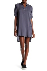 Allen Allen Roll Tab Shirt Dress Gray