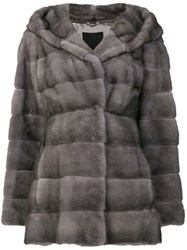 Liska Valenzia Hooded Fur Coat Grey