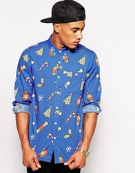 Asos Christmas Shirt In Long Sleeve With Festive Print Blue
