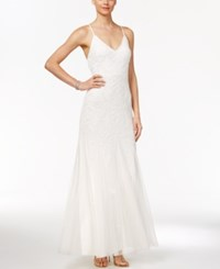Adrianna Papell Beaded Tulle A Line Gown Ivory