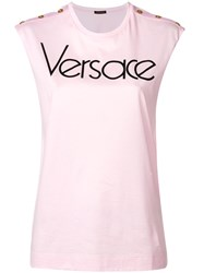 Versace Logo Printed Sleeveless Top Pink And Purple