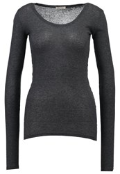 American Vintage Massachusetts Long Sleeved Top Anthracite Chine Charcoal Melange Grey