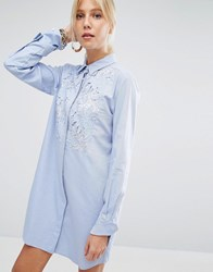 Sportmax Code Shirt Dress With Lace Panel Light Blue