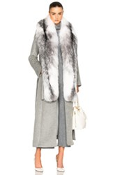 Jonathan Simkhai Fox Collar Coat In Gray