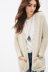 Forever 21 Purl Knit Shawl Cardigan Tan Gold