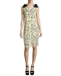 Marc Jacobs Sleeveless Lace Overlay Sheath Dress Pale Yellow