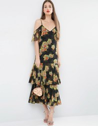 Asos Premium Maxi Dress With Frill Hem And Cold Shoulder In Floral Print Multi