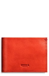 Shinola Men's Slim Bifold Leather Wallet Red Chili Pepper
