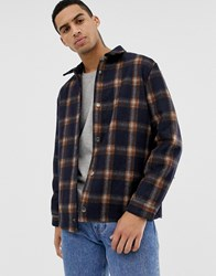 Hymn Checked Wool Coach Jacket Navy