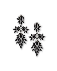 Fallon Crystal Cluster Marquis Statement Earrings Rhodium Clear