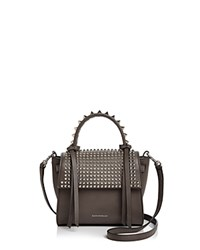 Elena Ghisellini Angel Extra Small Punky Leather Satchel Gray Silver