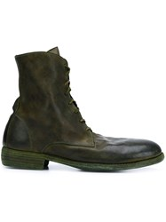 Guidi Lace Up Calf Length Boots Green