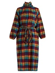 Ace And Jig Stevie Check Print High Neck Cotton Dress Multi