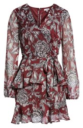 Love Fire Tiered Wrap Dress Burgundy Floral