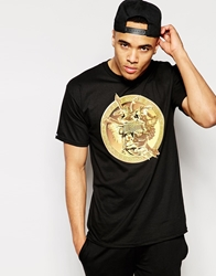 Crooks And Castles T Shirt With Gold Medusa Black