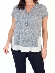 Chesca Stand Collar Print Top Ivory Navy