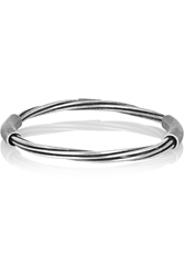 Saint Laurent Silver Plated Twisted Bangle