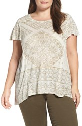 Lucky Brand Plus Size Women's Metallic Geo Embroidered Knit Top