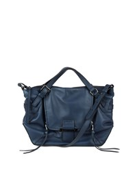 Gwenyth Leather Satchel Bag Navy Kooba