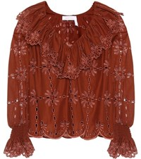 See By Chloe Cotton Eyelet Lace Top Brown