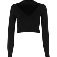 River Island Womens Black V Neck Mesh Panel Crop Top