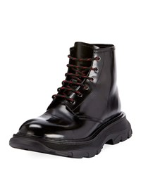 Alexander Mcqueen Leather Lace Up Combat Boots With Thick Rubber Sole Black