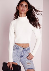 Missguided Petite Long Sleeve Turtle Neck Crop Sweater White