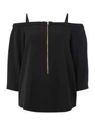 Episode Bardot Top With Zip Front Detail Black