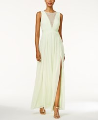 Adrianna Papell Illusion Lace Open Back Gown Light Key Lime