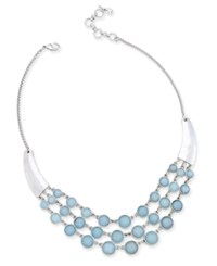 Lucky Brand Silver Tone Blue Stone Statement Necklace