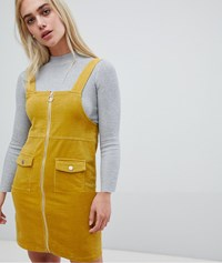 Pieces Zip Front Pinafore Dress Nugget Gold Yellow